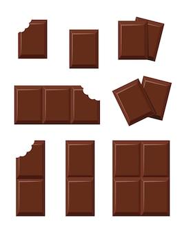 Pezzi di cioccolato, pieni e morsi