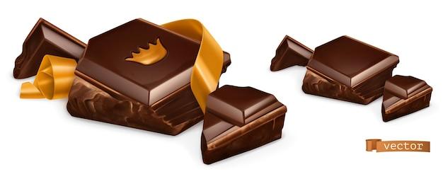 Pezzi di cioccolato con oro 3d set