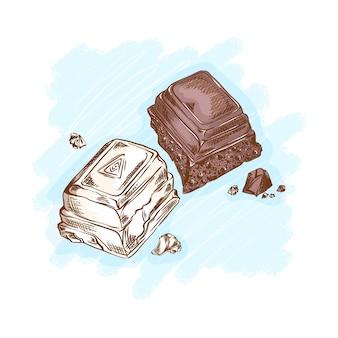 Pezzi di cioccolato fondente e bianco. dolci e dessert per il tè. schizzo disegnato a mano lineare