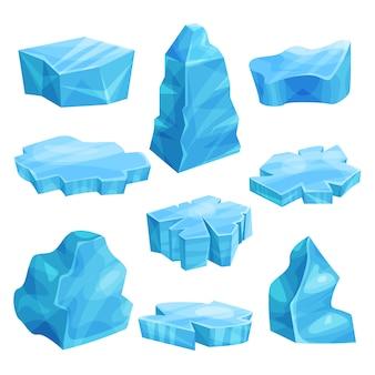 Pezzi di set di ghiaccio, blocco freddo congelato, scogliera ghiacciata, illustrazioni di iceberg
