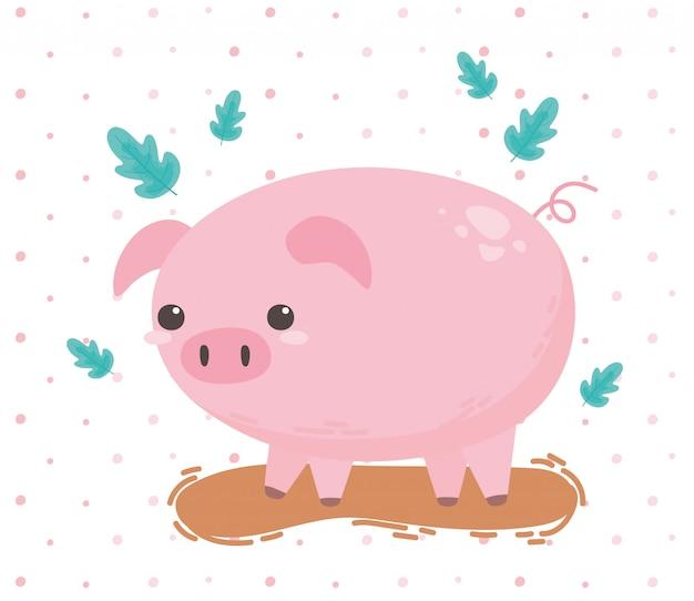 Fumetto della fattoria degli animali del maiale in un'illustrazione di vettore del paesaggio naturale