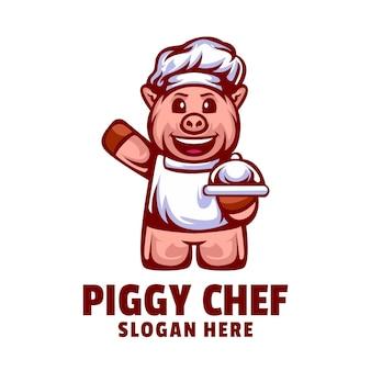 Disegno del logo dello chef di maiale