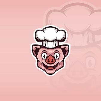Illustrazione della mascotte del cuoco unico del maiale