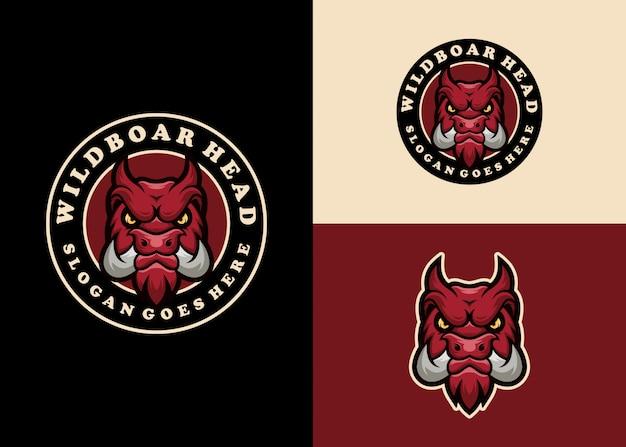 Maiale creativo mascotte emblema moderno logo design