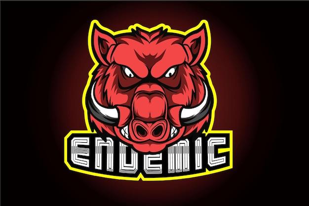 Disegno del logo maiale e sport