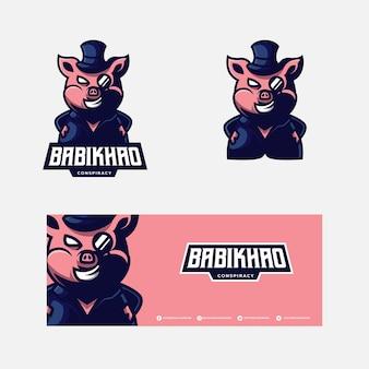 Logo della mascotte di maiale esport