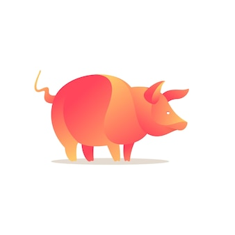 Logo dell'allevamento di maiali stile gradiente di volume modello di design vettoriale per t-shirt natura con marchio organico