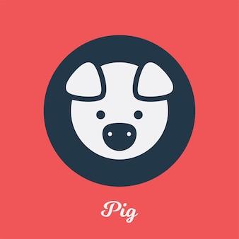 Disegno dell'icona piatto di maiale, elemento simbolo del logo