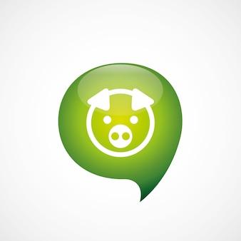 Icona di maiale verde pensare bolla simbolo logo, isolato su sfondo bianco