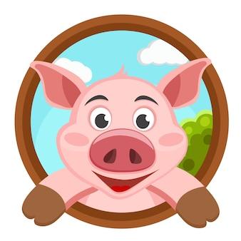 Il maiale guarda fuori e sorride sullo sfondo della natura. logotipo
