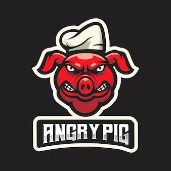 Emblema del logo della mascotte del maiale per esport