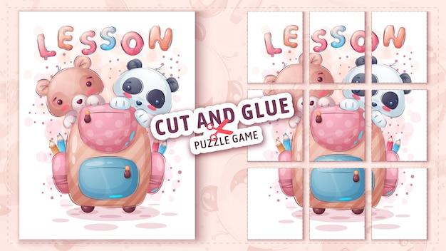 Maiale e panda con valigetta taglia e incolla puzzle game