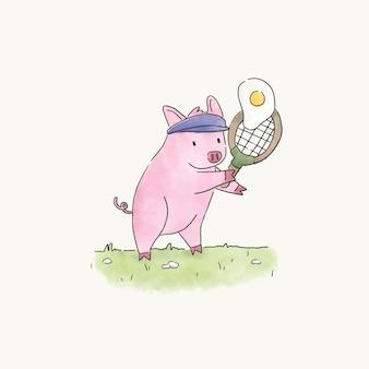 Maiale che gioca a tennis con un uovo fritto