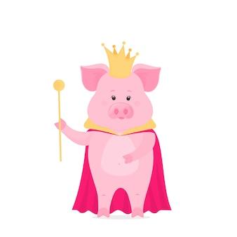 Principe di maiale in una corona con uno scettro in mano. re maialino nel mantello.