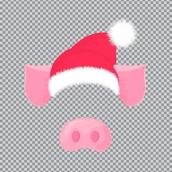 Naso e orecchie di maiale. cappello di babbo natale. maschera di carnevale per il nuovo anno 2019.