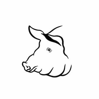 Illustrazione di vettore di disegno del tatuaggio di simbolo del maiale