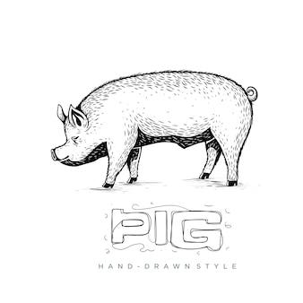 Vista laterale di vettore del maiale, illustrazione animale disegnata a mano