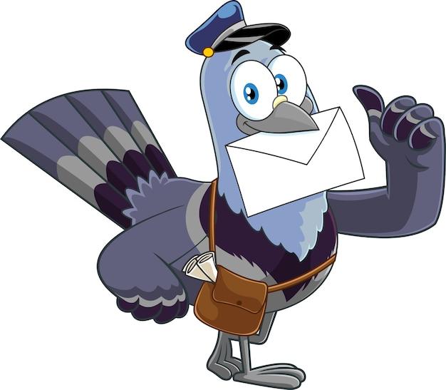 Personaggio dei cartoni animati di piccione uccello che consegna la lettera e che dà i pollici in su. illustrazione isolato su sfondo bianco