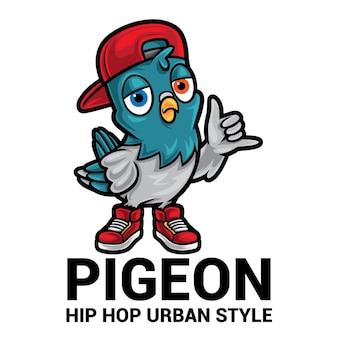 Logo della mascotte del fumetto di piccione