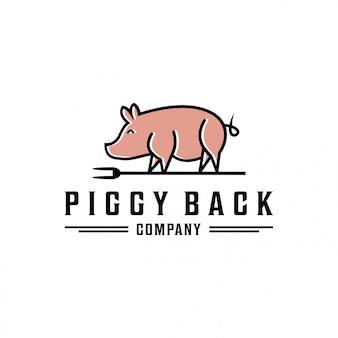 Modello logo piggy back Vettore Premium