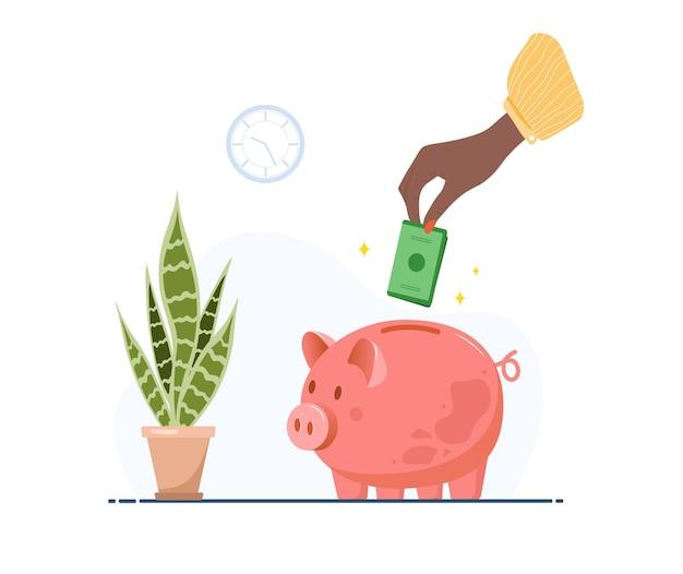Salvadanaio. mano femminile africana mette le banconote nel salvadanaio. investimenti in futuro. servizi bancari o aziendali.