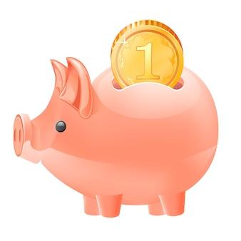 Porcellino salvadanaio e moneta isolati