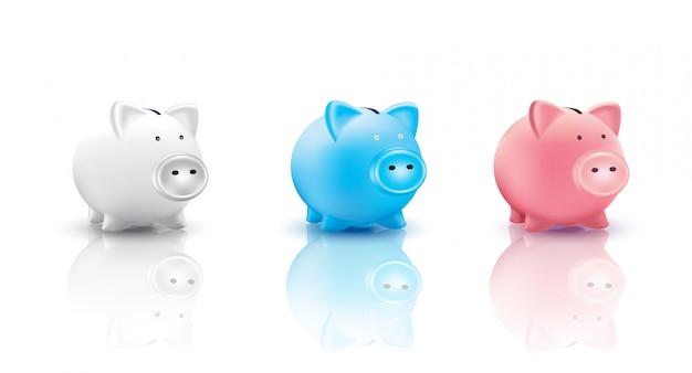 Illustrazione delle monete e del porcellino salvadanaio