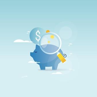 Concetto di banca piggy, investimento finanziario, gestione del bilancio, conto di risparmio, deposito, denaro fondi pensione, pianificazione finanziaria illustrazione vettoriale illustrazione per la fotocamera mobile e web