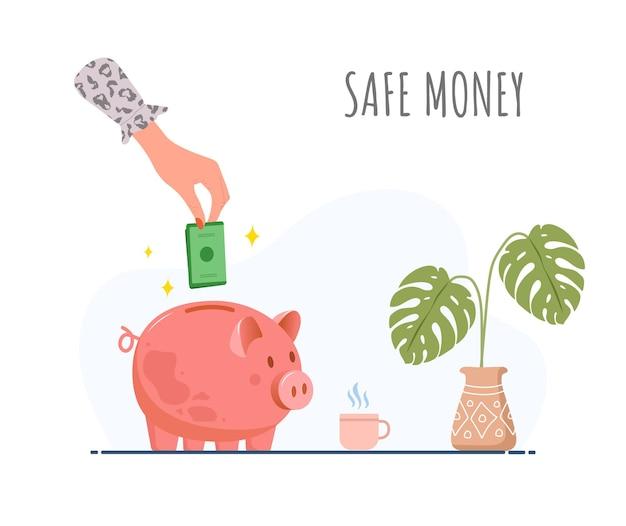 Salvadanaio. la mano femminile mette le banconote verdi nel contenitore di soldi.