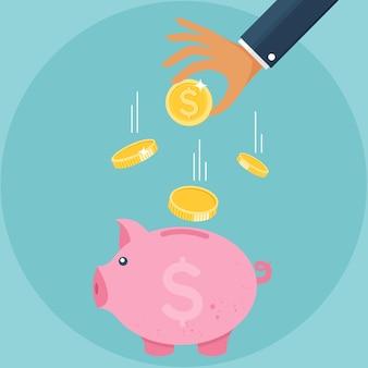 Salvadanaio e mano con icona moneta concetto di crescita finanziaria di raccolta monetaria o strategia