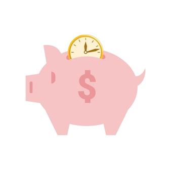 Il tempo del salvadanaio è un risparmio di denaro e un maiale di profitto