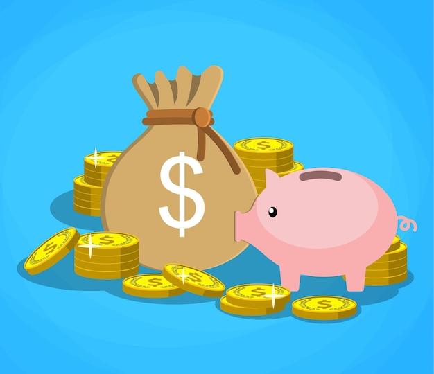 Salvadanaio con monete d'oro e sacco di soldi