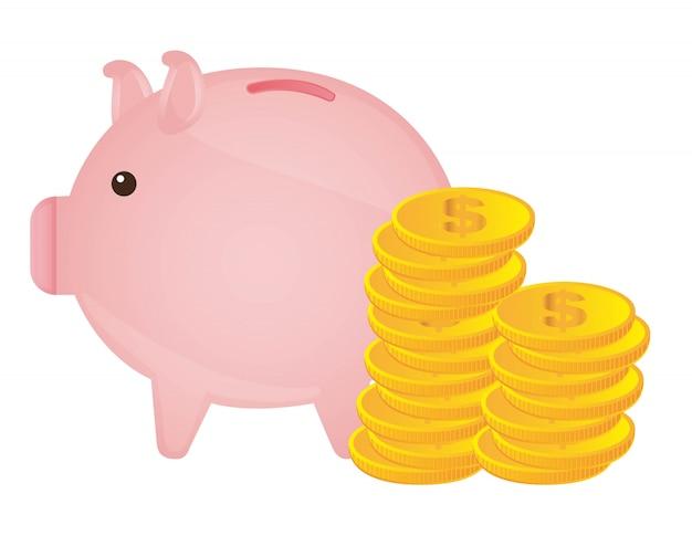 Porcellino con monete d'oro su sfondo bianco illustrazione vettoriale