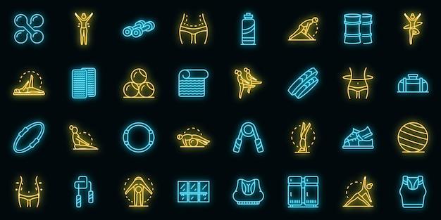 Pilates set di icone vettoriali neon