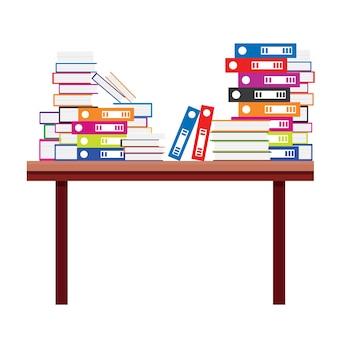 Pila di libri e cartelle di file di documenti su un tavolo di legno. illustrazione di vettore.