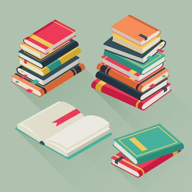 Pile di libri. libri di testo impilati, illustrazione della pila del libro di lezione di istruzione della biblioteca della scuola di storia della letteratura di studio