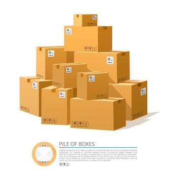 Un mucchio di scatole. cartone marrone vettoriale. illustrazione vettoriale