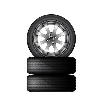 Pila di pneumatici per auto con cerchione in lega, servizio di montaggio pneumatici e poster pubblicitario di vendita