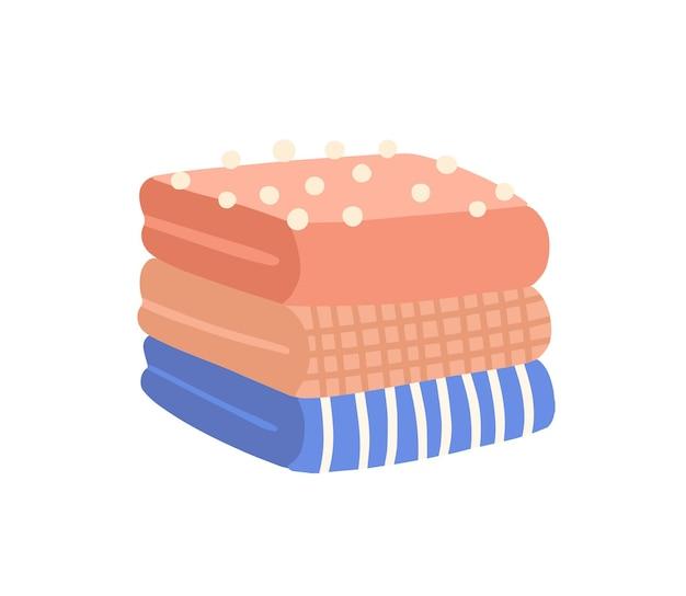 Mucchio di vestiti piegati piatto illustrazione vettoriale. indumento di lana lavorato a maglia. abbigliamento a righe e a scacchi. elementi di abbigliamento confezionati con pompon. abbigliamento invernale caldo su sfondo bianco.