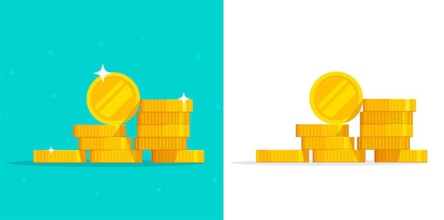 Pila di soldi monete illustrazione vettoriale icona isolato o metallo oro pila mucchio clipart ritagliata