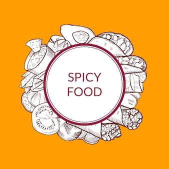 Mucchio di elementi di cibo messicano abbozzato sotto il cerchio con il posto per il testo