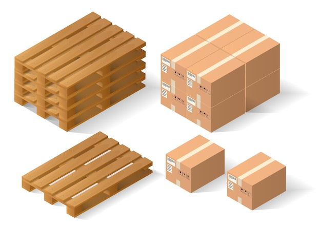 Pila di pallet di legno e scatole. isolato su bianco
