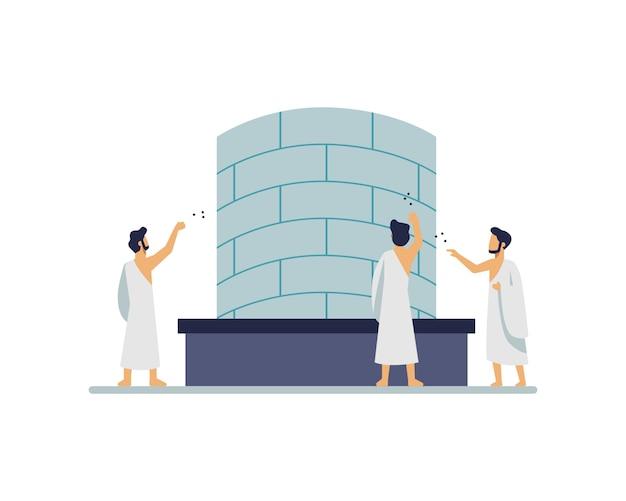 I pellegrini lanciano pietre durante l'esecuzione di hajj alla mecca