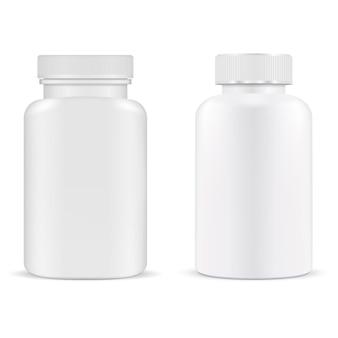 Bottiglia di pillola. vaso di plastica della capsula della vitamina del contenitore di supplemento isolato. modello di prodotto tablet medico. progettazione di imballaggi per farmaci da prescrizione. portapillole, cura antibiotica. pacchetto di medicinali