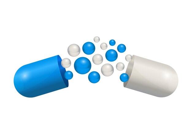 Capsula della compressa della droga dell'icona della pillola. bolle blu e bianche illustrazione della medicina