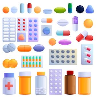 Set di pillole, stile cartoon
