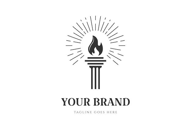 Pilastro colonna brucia torcia fuoco fiamma luce logo design vector