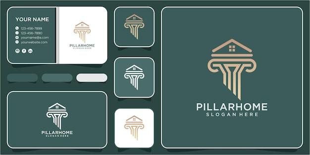 Disegno del logo della casa del pilastro. logo del pilastro, logo della casa. design del logo della casa di legge