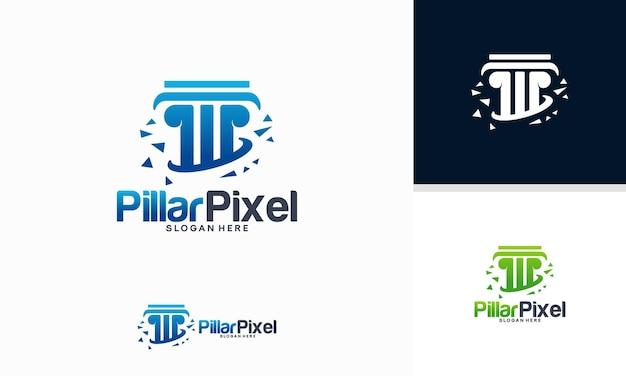 Il logo pillar pixel progetta il vettore del concetto, il modello di progettazione del logo dello studio legale