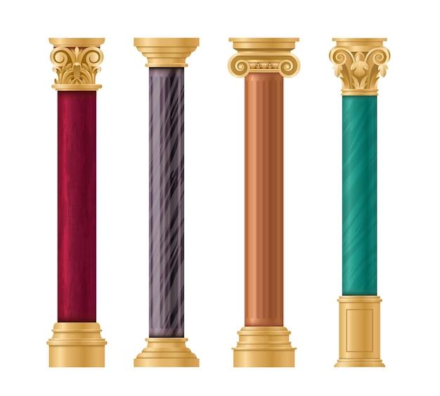 Set architettonico di pilastri. colonna classica in marmo con pilastro in oro in antichi stili diversi